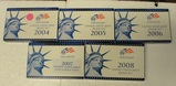 5 U.S. PROOF SETS W/STATE QUARTERS, BOXES - CONSECUTIVE 2004-2008