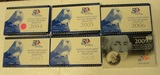 6 U.S. STATE QUARTERS PROOF SETS W/BOXES - CONSECUTIVE 2004-2009