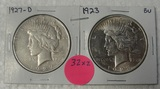 1923, 1927-D SILVER PEACE DOLLARS - 2 TIMES MONEY