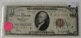 1929 10 DOLLAR NOTE - BROWN SEAL, RESERVE BANK OF KANSAS CITY MO.