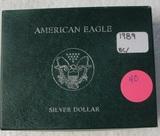 1989 BU SILVER EAGLE DOLLAR W/BOX