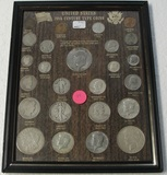 U.S. 20TH CENTURY TYPE COINS DISPLAY BOARD W/25 COINS