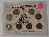 WORLD WAR II OBSOLETE COIN COLLECTION W/PLASTIC CASE