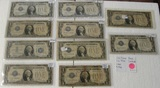 10 FUNNY BACK ONE DOLLAR SILVER CERTIFICATES - 9-1928, 1-1934