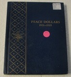 PEACE DOLLARS COLLECTION BOOK W/6 COINS - 1922-D, 23, 23-S, 25, 26-D, 26-S