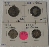1865 SHILLING, 1888, 1928 CENTAVOS, 1918 CENTIMES - 4 TIMES MONEY