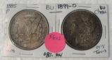 1885, 1899-O BU MORGAN SILVER DOLLARS W/TONING - 2 TIMES MONEY