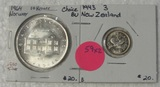 1943 NEW ZEALAND 3D, 1964 NORWAY 10 KRONER - 2 TIMES MONEY