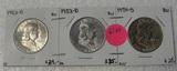 1952-D, 1953-D, 1954-D BU FRANKLIN HALF DOLLARS - 3 TIMES MONEY