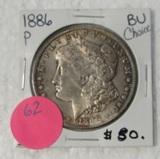 1886 CHOICE BU MORGAN SILVER DOLLAR
