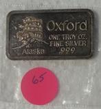 OXFORD ONE TROY OZ. SILVER BAR - ALASKA