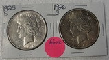 1925-S, 1926-S SILVER PEACE DOLLARS - 2 TIMES MONEY