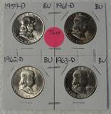 1959-D, 1961-D, 1962-D, 1963-D BU FRANKLIN HALF DOLLARS - 4 TIMES MONEY