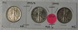1943, 1943-D, 1944-D WALKING LIBERTY HALF DOLLARS - 3 TIMES MONEY