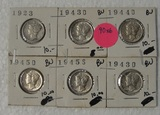 1923, 2-43-D, 44-D, 45-D, 45-S MERCURY DIMES - 6 TIMES MONEY