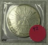 1909 MEXICO CAP AND RAY SILVER PESO COIN