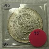 1901 MEXICO CAP AND RAY SILVER PESO COIN