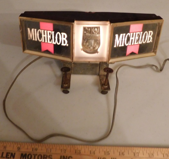 MICHELOB LIGHT BEER LIGHTED SHELF CLAMP SIGN - WORKS