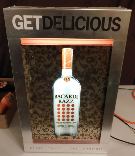 BACARDI RAZZ LIGHTED METAL SIGN - WORKS
