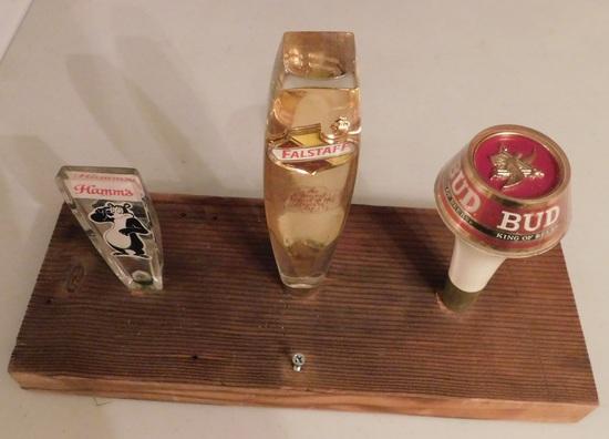 3 BEER KEG TAPS MOUNTED ON WOOD - HAMM'S, FALSTAFF, BUDWEISER