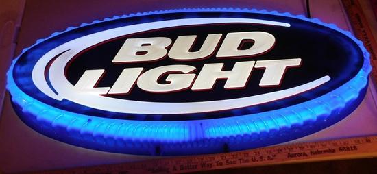 BUD LIGHT PLASTIC LIGHTED SIGN - WORKS