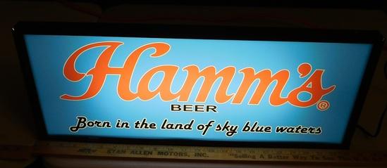 HAMM'S BEER PLASTIC LIGHTED SIGN - WORKS