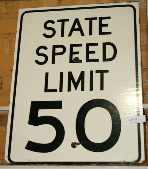 SINGLE-SIDED STATE SPEED LIMIT 50 WOOD ROAD SIGN - LOCAL PICKUP ONLY