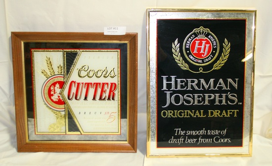 2 FRAMED COORS BEER ADVERTISING MIRRORS - ONE W/SMALL DAMAGE
