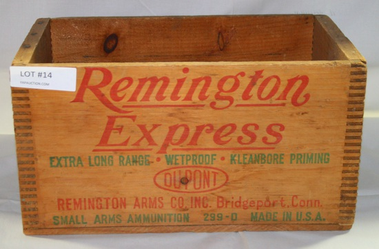 REMINGTON EXPRESS SMALL ARMS AMMUNITION WOOD BOX