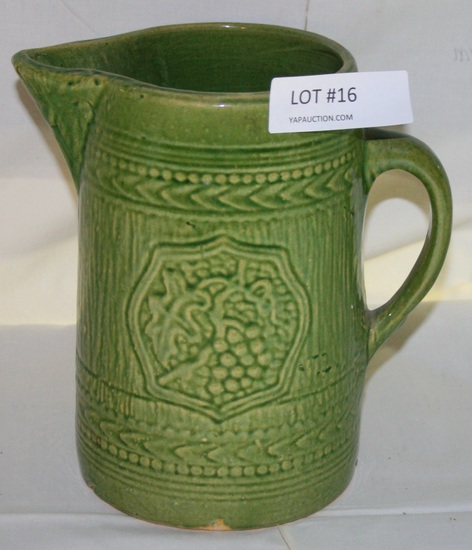 ANTIQUE GREEN STONEWARE PITCHER