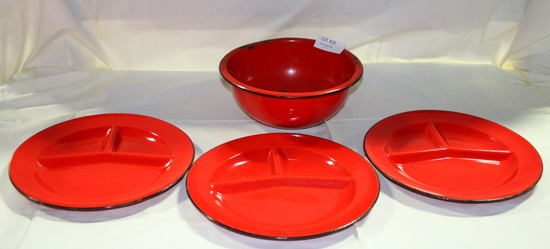 4 PCS. RED W/BLACK TRIM ENAMELWARE