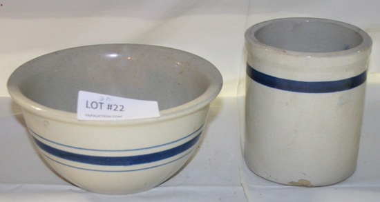 2 PCS. BLUE BAND STONEWARE