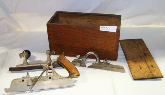 ANTIQUE STANLEY NO. 45 WOOD PLANER SET W/ACCESSORIES