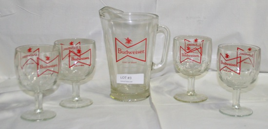 5-PC. GLASS BUDWEISER PITCHER & GOBLET SET