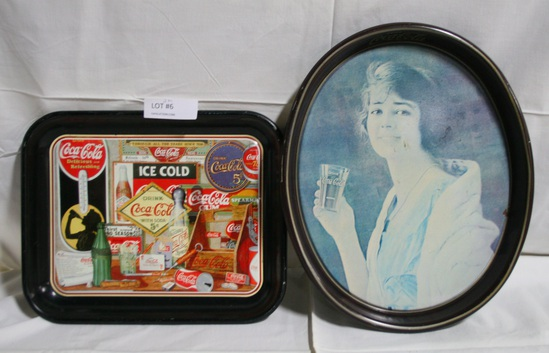 2 COCA-COLA TIN TIP TRAYS