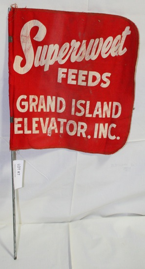 VTG. SINGLE-SIDED SUPERSWEET FEEDS CANVAS FLAG - GRAND ISLAND