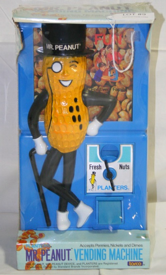 N.O.S. PLANTERS MR. PEANUT VENDING MACHINE - SEALED