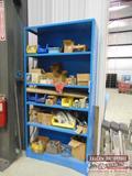 Blue shelf of hydraulic fittings