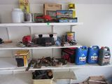 4 shelves of misc. garage items