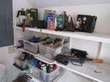 4 shelves full of useful garage items