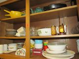 Contents of shelves in kitchen