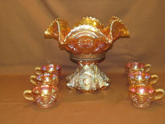 Punch bowl and stem/cups