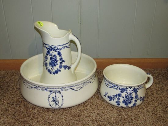 Large water basin, pitcher, and pot