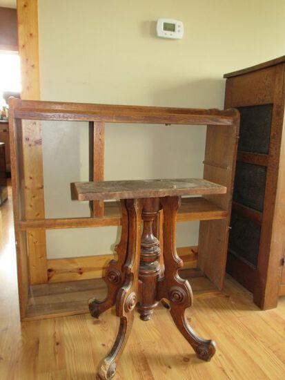 2 pc vintage wood furniture parts