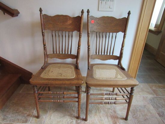 2 pc pressed back chairs
