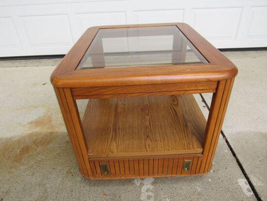 assett Oak Glass Top End Table