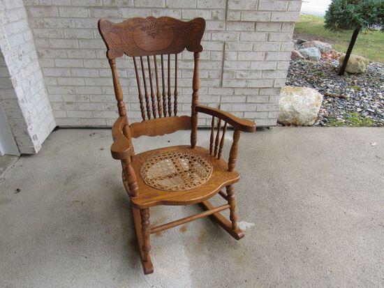 Cane Bottom Oak Rocking Chair