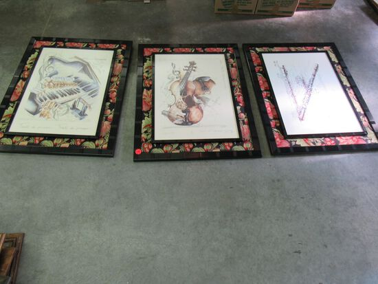 Set of 3 matted pictures that have musical instruments