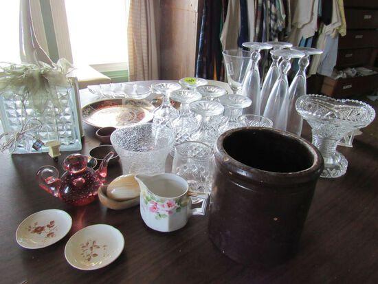 Decorative glassware and crock