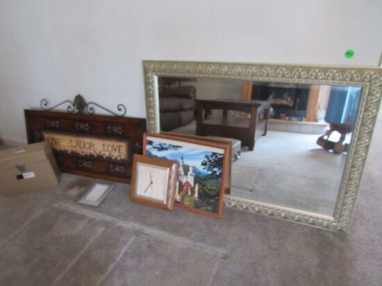 Large mirror and artwork